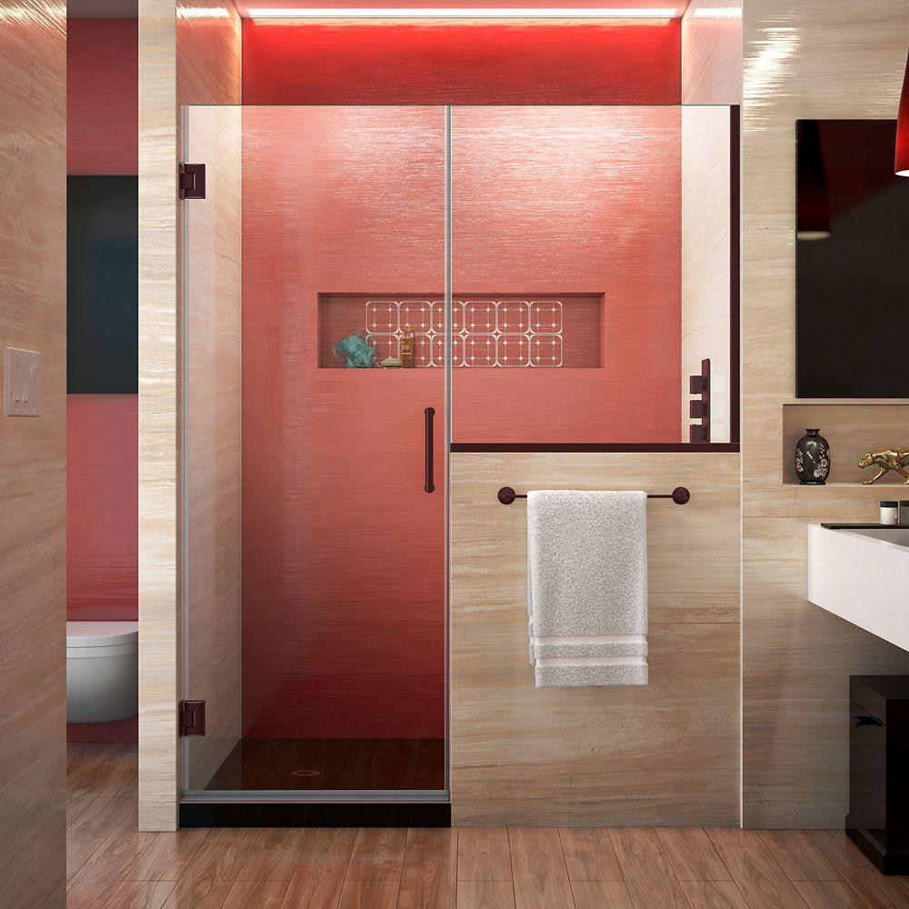 DreamLine Unidoor Plus 57.50-inch x 72-inch Frameless Rectangular Clear Shower Door with Bronze Hardware