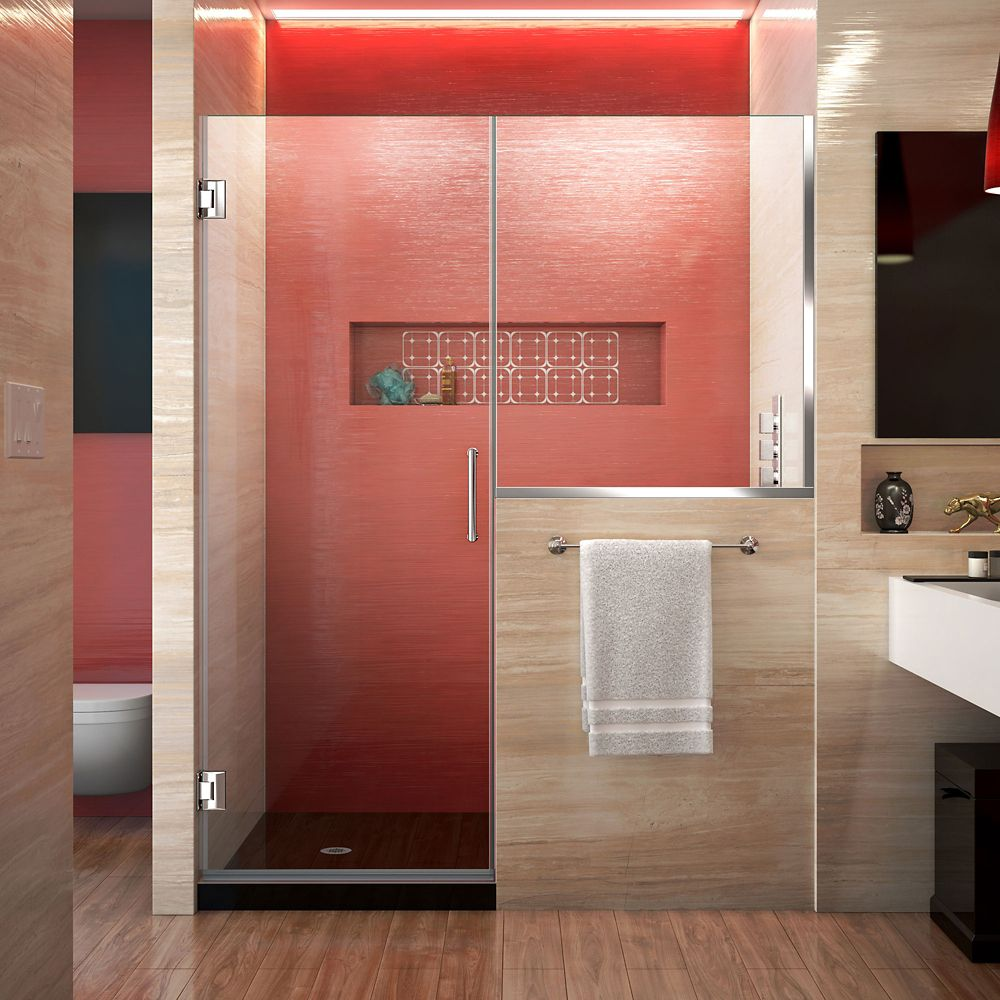 DreamLine Unidoor Plus 58.50-inch x 72-inch Frameless Rectangular Clear Shower Door with Chrome Hardware