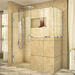 DreamLine Unidoor Plus 35-inch x 36-3/8-inch x 72-inch Frameless Pivot Shower Door Enclosure in Chrome