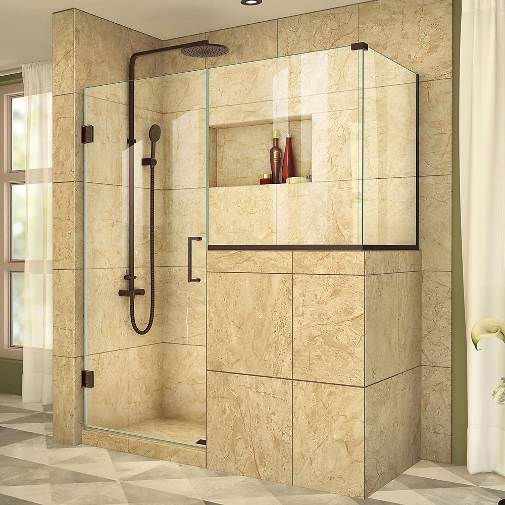 Unidoor Plus 54-inch x 40-3/8-inch x 72-inch Frameless Pivot Shower Enclosure in Oil Rubbed Bronze