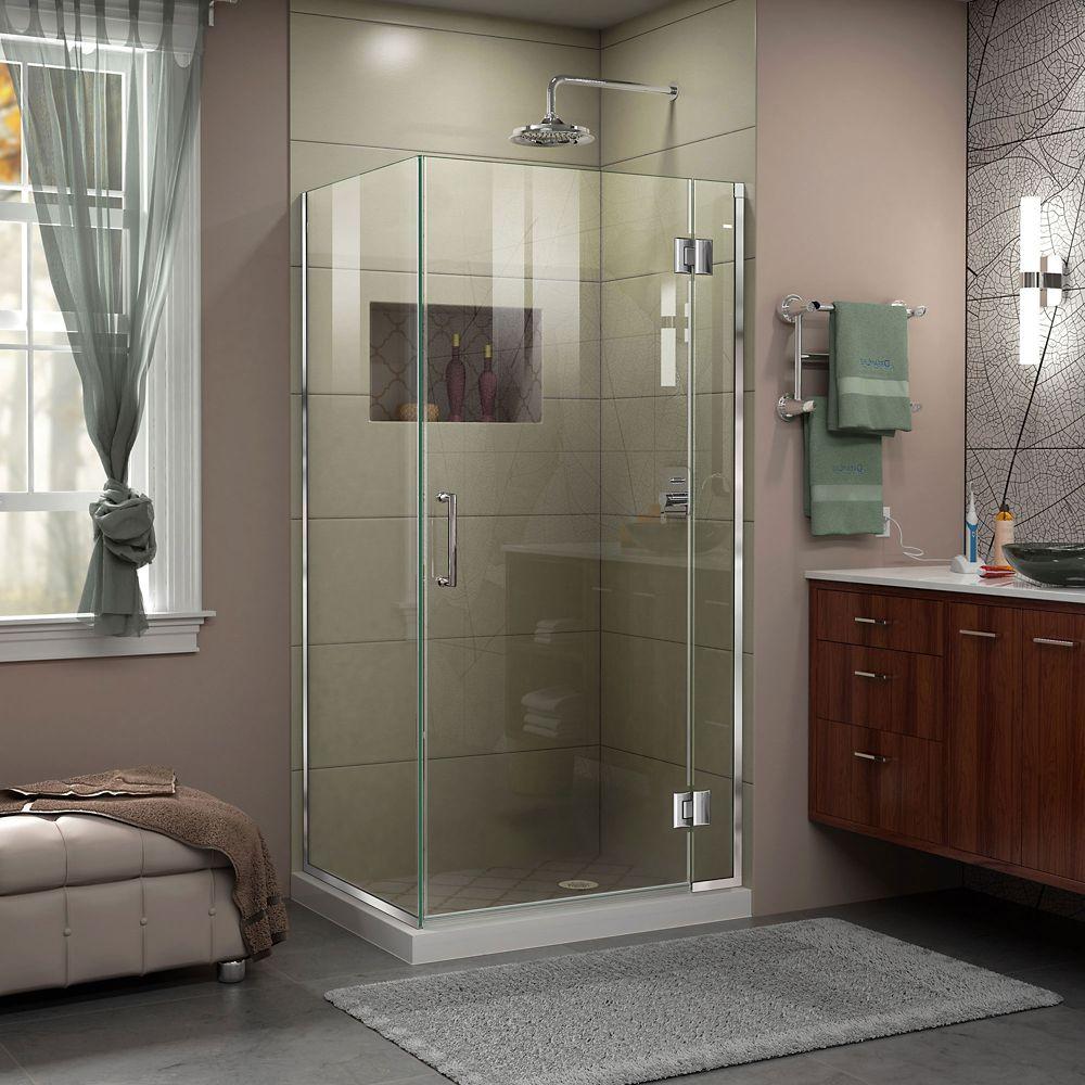 DreamLine Unidoor-X 33-3/8-inch x 30-inch x 72-inch Frameless Pivot Shower Enclosure in Chrome