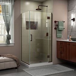 DreamLine Unidoor-X 36-3/8-inch x 34-inch x 72-inch Frameless Hinged Shower Enclosure in Oil Rubbed Bronze