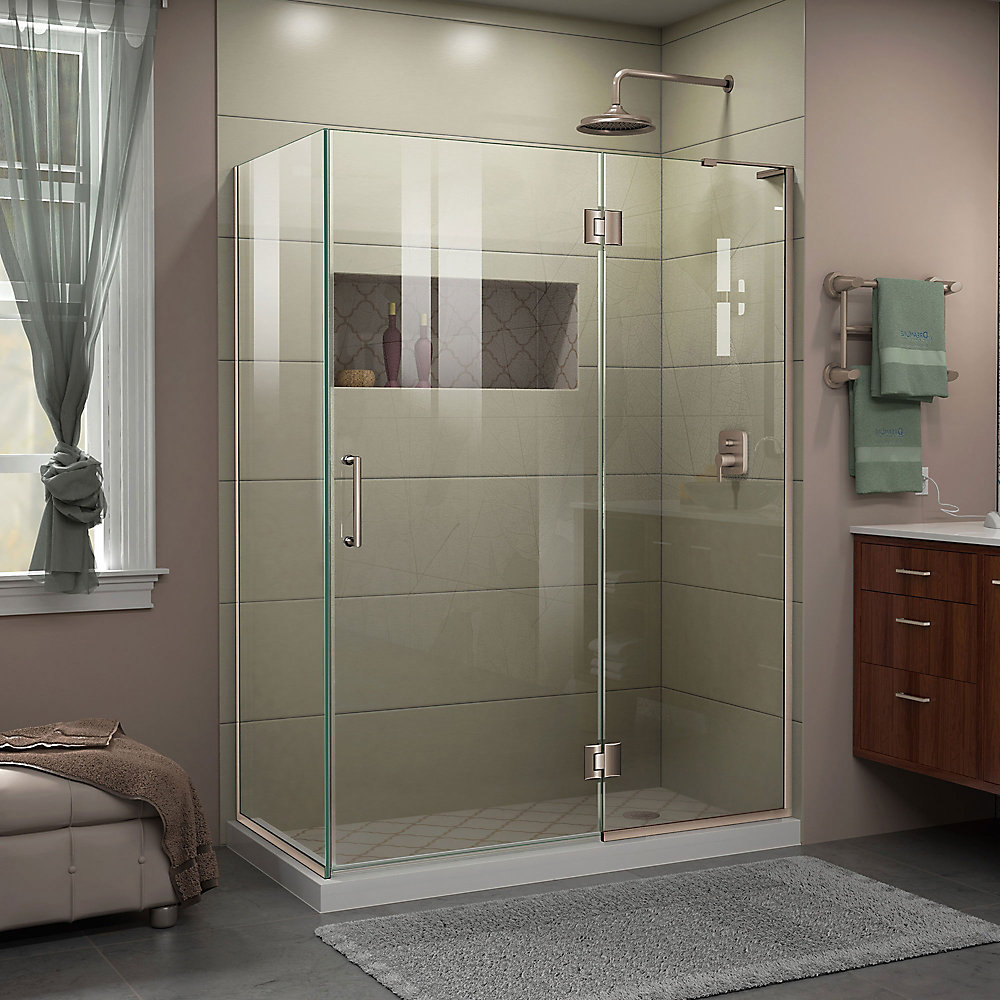 Unidoor-X 47 3/8 inch W x 30 inch D x 72 inch H Shower Enclosure in Brushed Nickel