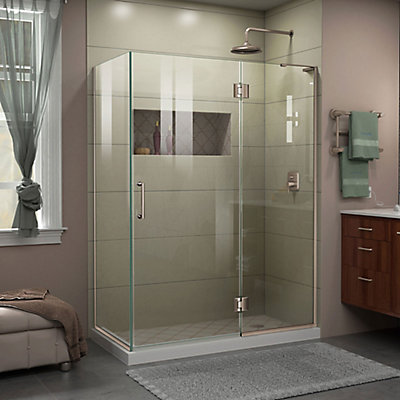 Dreamline Unidoor X 48 3 8 Inch 30 72 Frameless Corner Hinged Shower Enclosure In Brushed Nickel The Home Depot Canada
