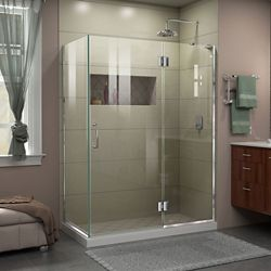 DreamLine Unidoor-X 48-3/8-inch x 34-inch x 72-inch Frameless Pivot Shower Enclosure in Chrome