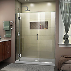 DreamLine Unidoor-X 60-inch x 72-inch Frameless Rectangular Pivot/Hinged Clear Shower Door with Chrome Accents