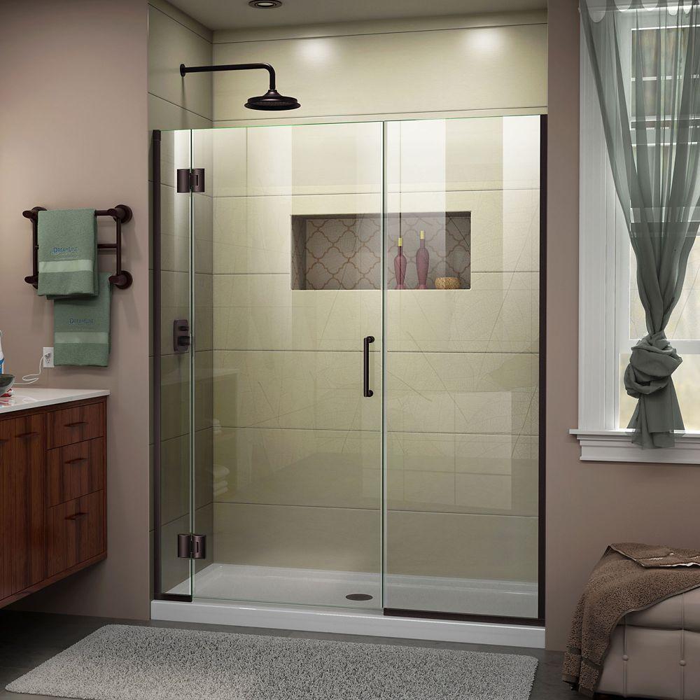 Unidoor-X 54-inch x 72-inch Frameless Rectangular Pivot/Hinged Clear Shower Door with Bronze Accents