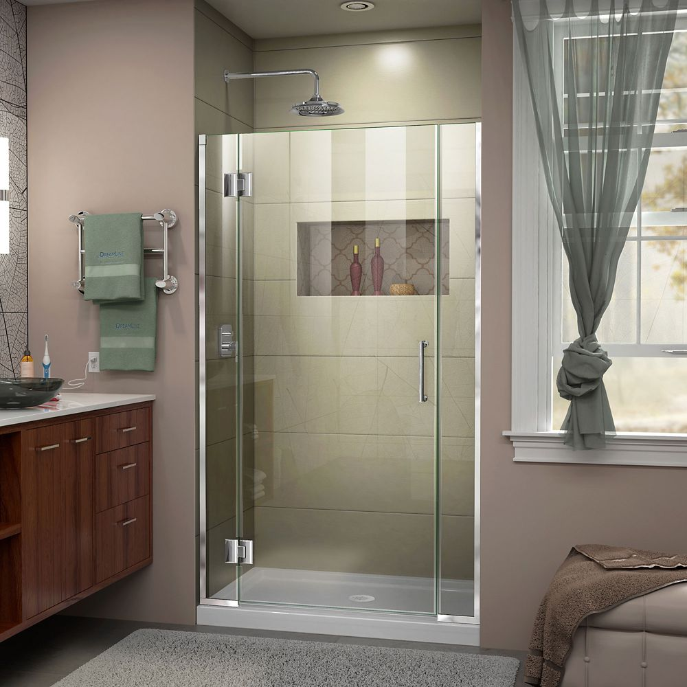 DreamLine Unidoor-X 40-inch x 72-inch Frameless Rectangular Pivot/Hinged Clear Shower Door with Chrome Accents