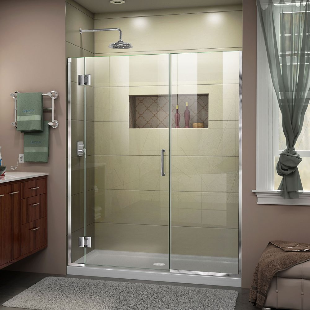 Unidoor-X 58-inch x 72-inch Frameless Rectangular Pivot/Hinged Clear Shower Door with Chrome Accents