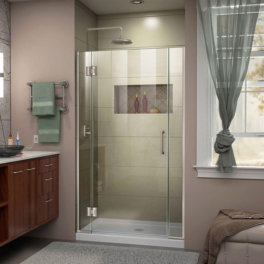 Unidoor-X 43-inch x 72-inch Frameless Rectangular Clear Shower Door with Brushed Nickel Hardware