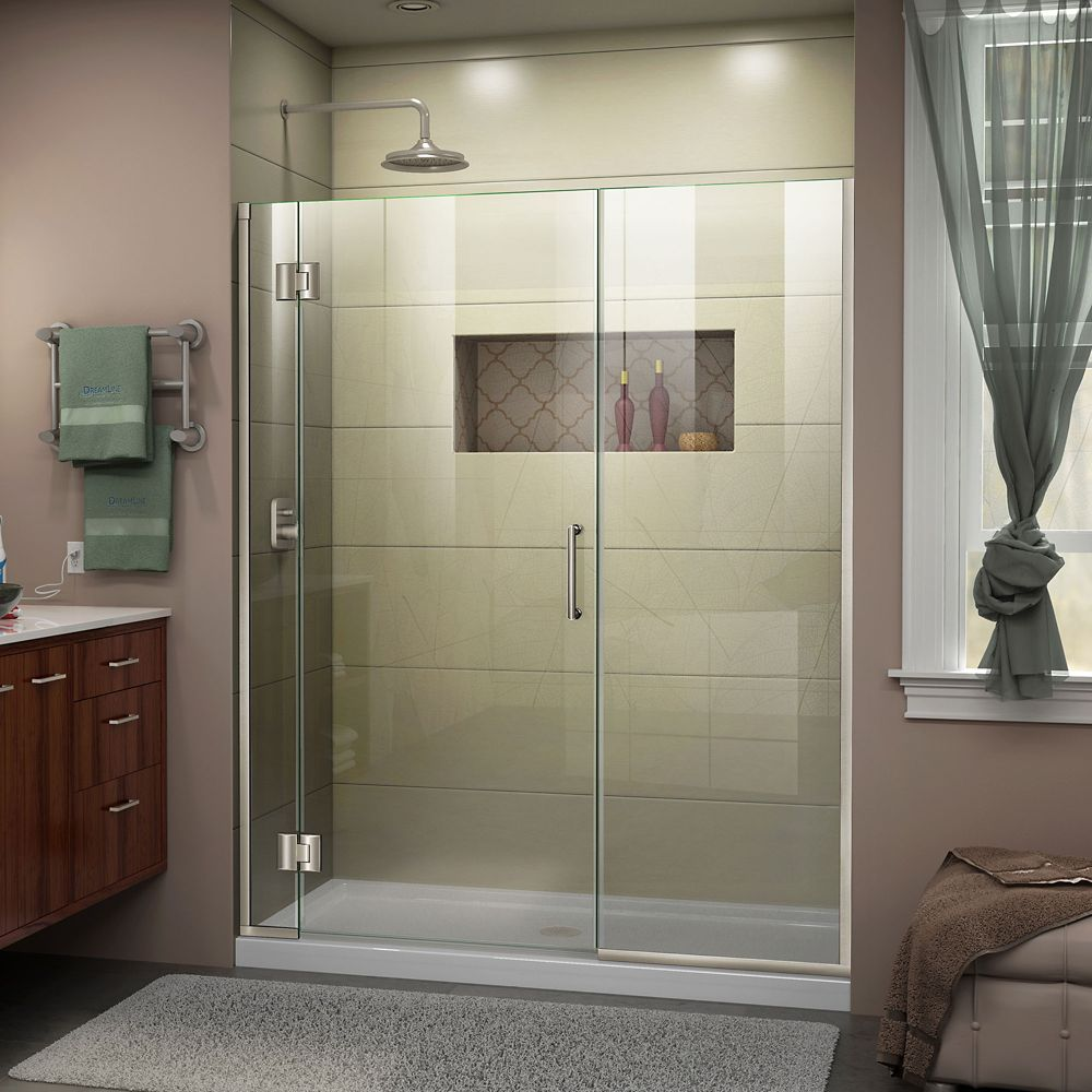 DreamLine Unidoor-X 58.50-inch x 72-inch Frameless Rectangular Clear Shower Door with Brushed Nickel Hardware