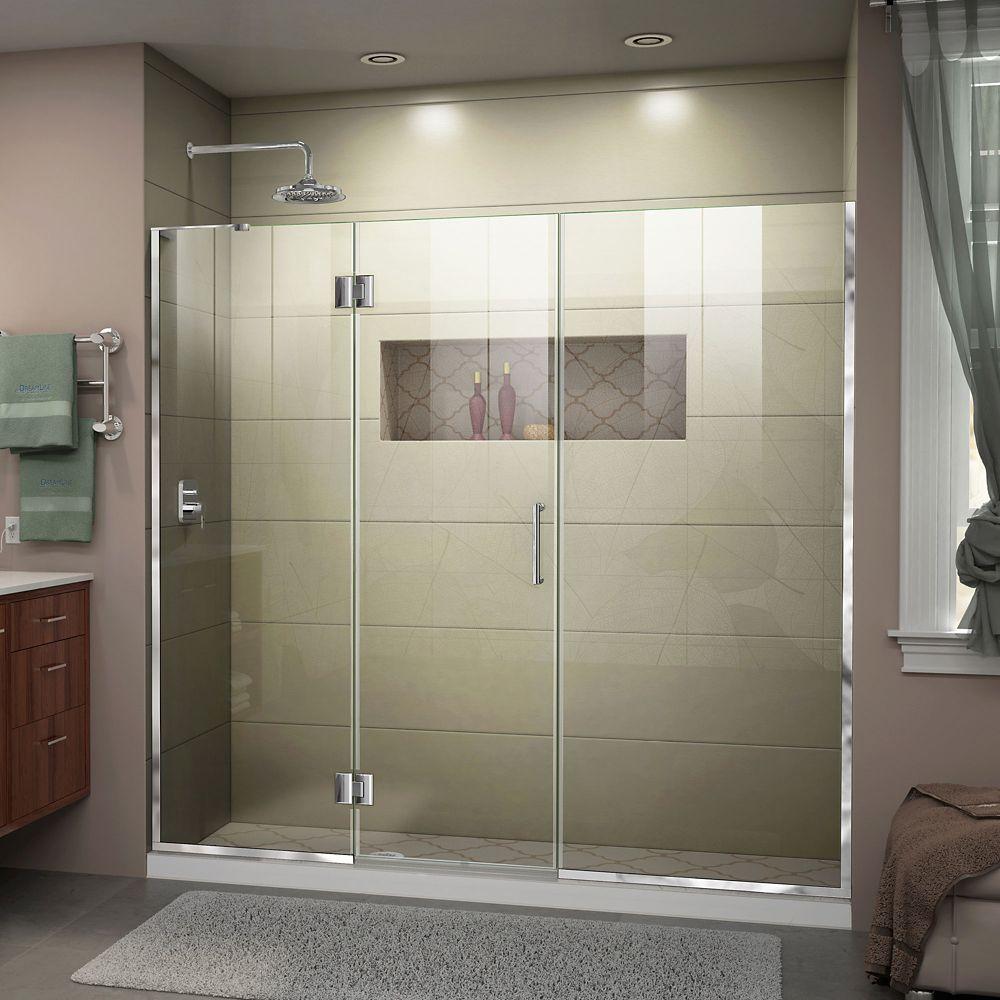 DreamLine Unidoor-X 72.50-inch x 72-inch Frameless Rectangular Shower Door in Clear Glass with Chrome Hardware