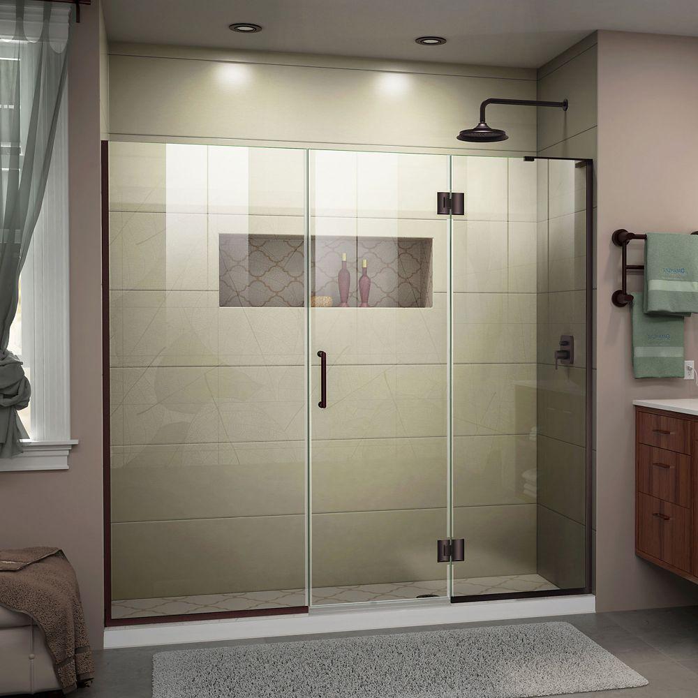 DreamLine Unidoor-X 73-inch x 72-inch Frameless Rectangular Pivot/Hinged Clear Shower Door with Bronze Accents