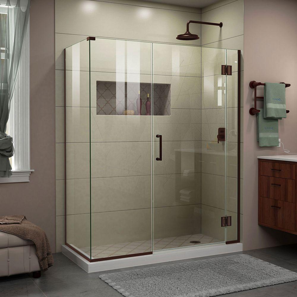 DreamLine Unidoor-X 46 1/2 inch W x 34 3/8 inch D x 72 inch H Shower Enclosure in Oil Rubbed Bronze