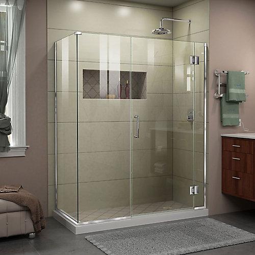 Unidoor-X 57.5-inch x 34-3/8-inch x 72-inch Frameless Pivot Shower Door Enclosure in Chrome