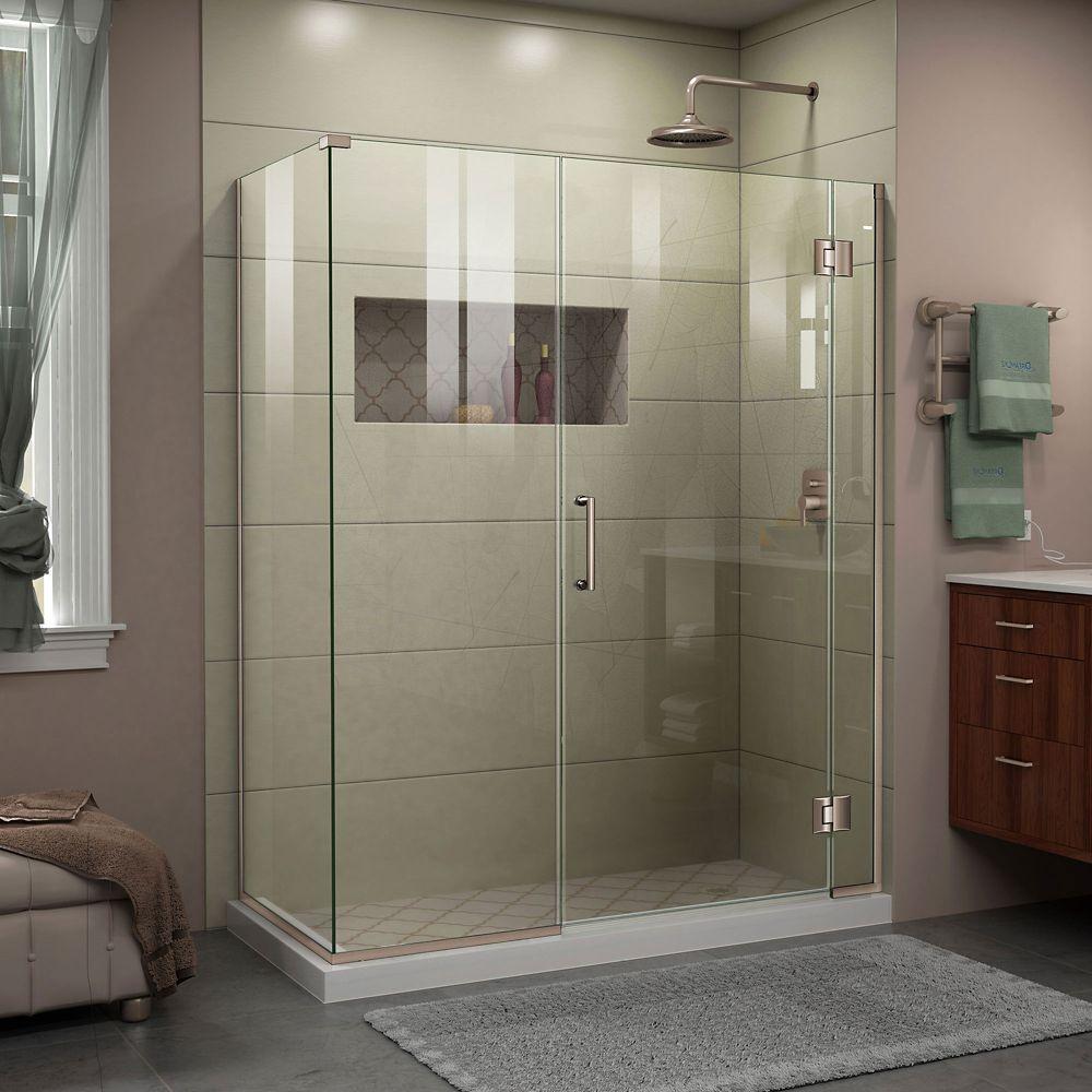 Unidoor-X 57.5-inch x 34-3/8-inch x 72-inch Frameless Pivot Shower Door Enclosure in Brushed Nickel
