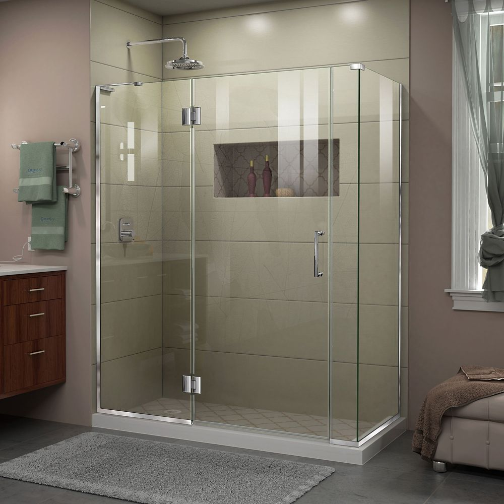 Unidoor-X 60-inch x 34-3/8-inch x 72-inch Frameless Hinged Shower Enclosure in Chrome