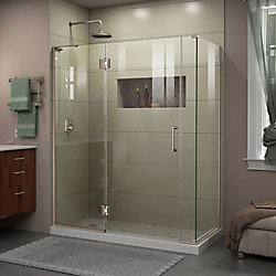 DreamLine Unidoor-X 60-inch x 34-3/8-inch x 72-inch Frameless Hinged Shower Enclosure in Brushed Nickel