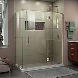 DreamLine Unidoor-X 60-inch x 30-3/8-inch x 72-inch Frameless Hinged Shower Enclosure in Brushed Nickel