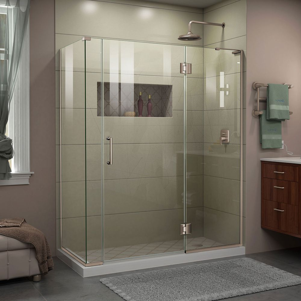 Unidoor-X 60-inch x 30-3/8-inch x 72-inch Frameless Hinged Shower Enclosure in Brushed Nickel
