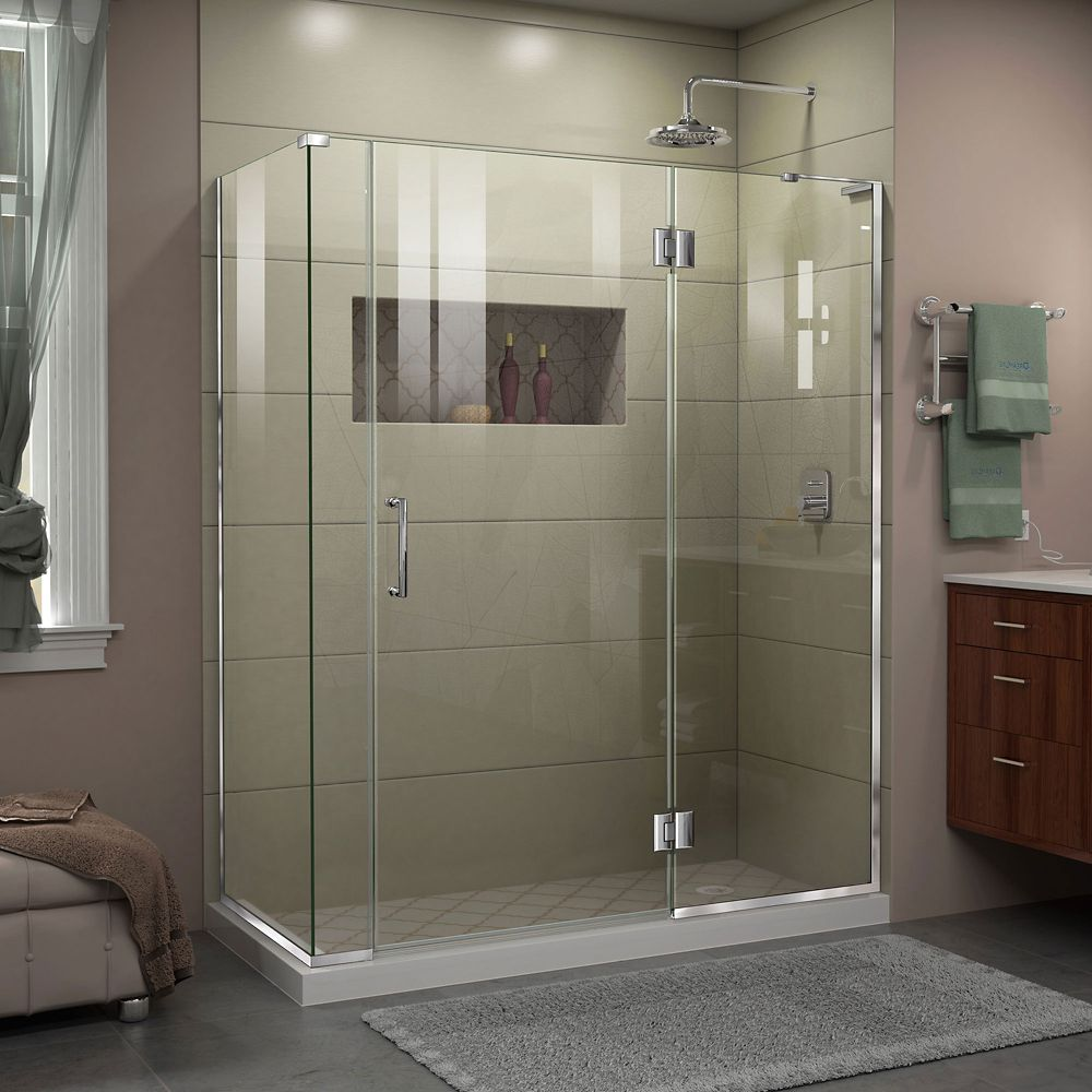 DreamLine Unidoor-X 60-inch x 34-3/8-inch x 72-inch Frameless Hinged Shower Enclosure in Chrome