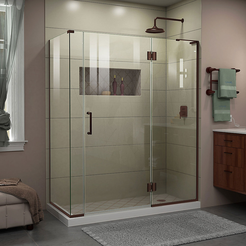 Unidoor-X 60-inch x 34-3/8-inch x 72-inch Frameless Hinged Shower Enclosure in Oil Rubbed Bronze