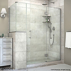 DreamLine Unidoor-X 60-inch x 40-3/8-inch x 72-inch Frameless Hinged Shower Enclosure in Brushed Nickel