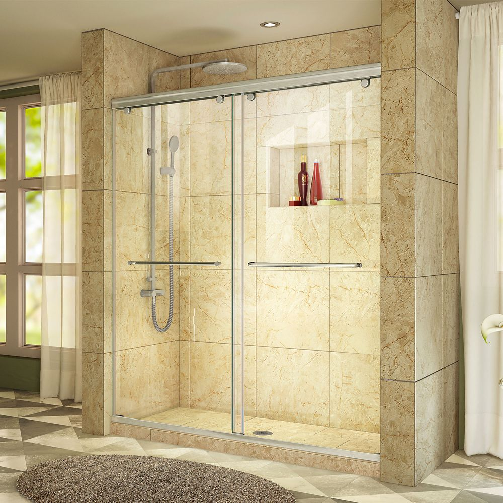 Charisma 48-inch x 76-inch Frameless Rectangular Sliding Shower Door in Glass with Brushed Nickel