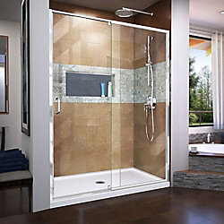 Flex 60-inch x 72-inch Frameless Rectangular Pivot/Hinged Clear Shower Door with Chrome Hardware