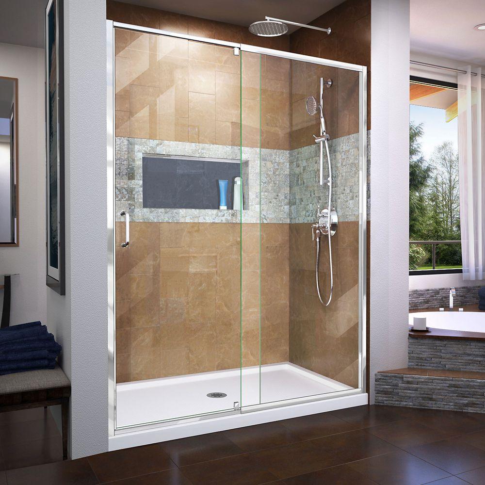 Flex 60-inch x 72-inch Frameless Rectangular Pivot/Hinged Clear Shower Door with Chrome Hardware