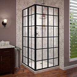 DreamLine French Corner 34-1/2-inch x 34-1/2-inch x 72-inch Framed Sliding Shower Enclosure in Satin Black