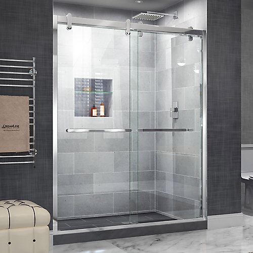Cavalier 60-inch x 76-inch Frameless Rectangular Sliding Shower Door in Glass with Polished Hardware