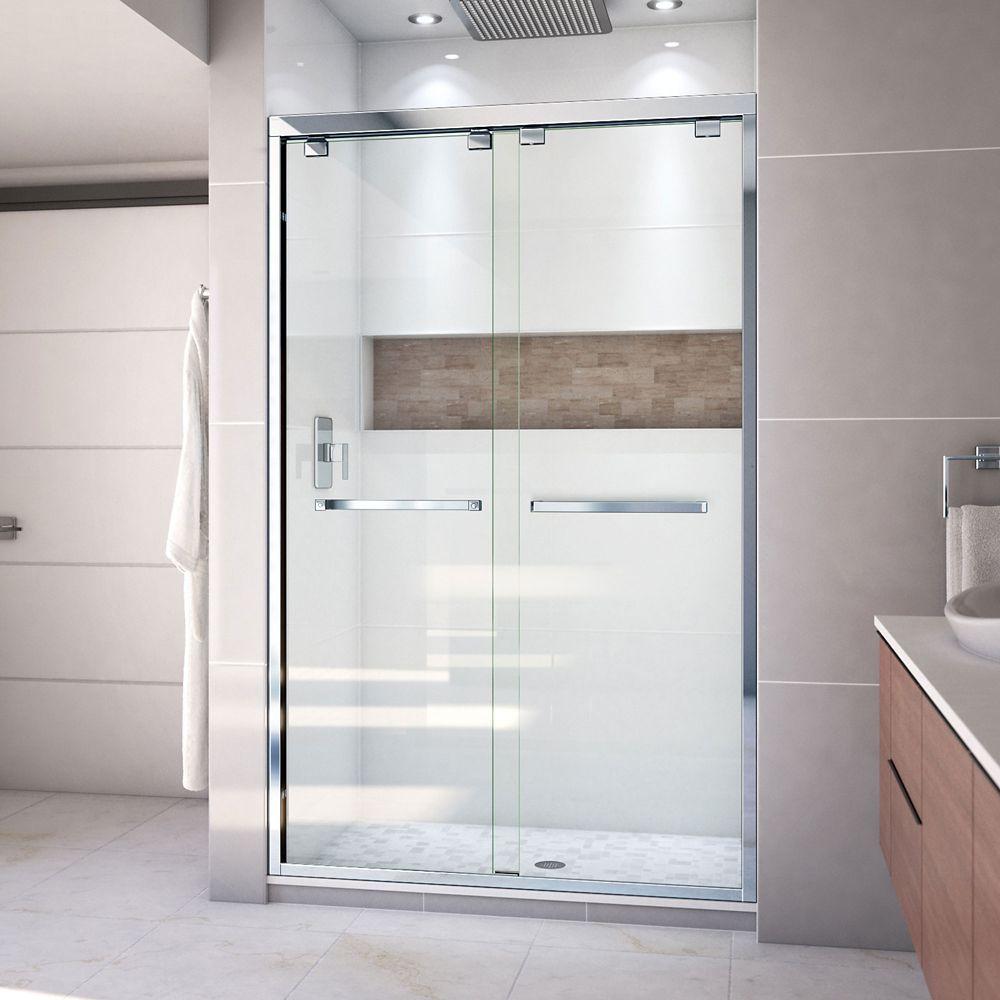 DreamLine Encore 48-inch x 76-inch Frameless Rectangular Sliding Shower Door in Glass with Chrome Hardware