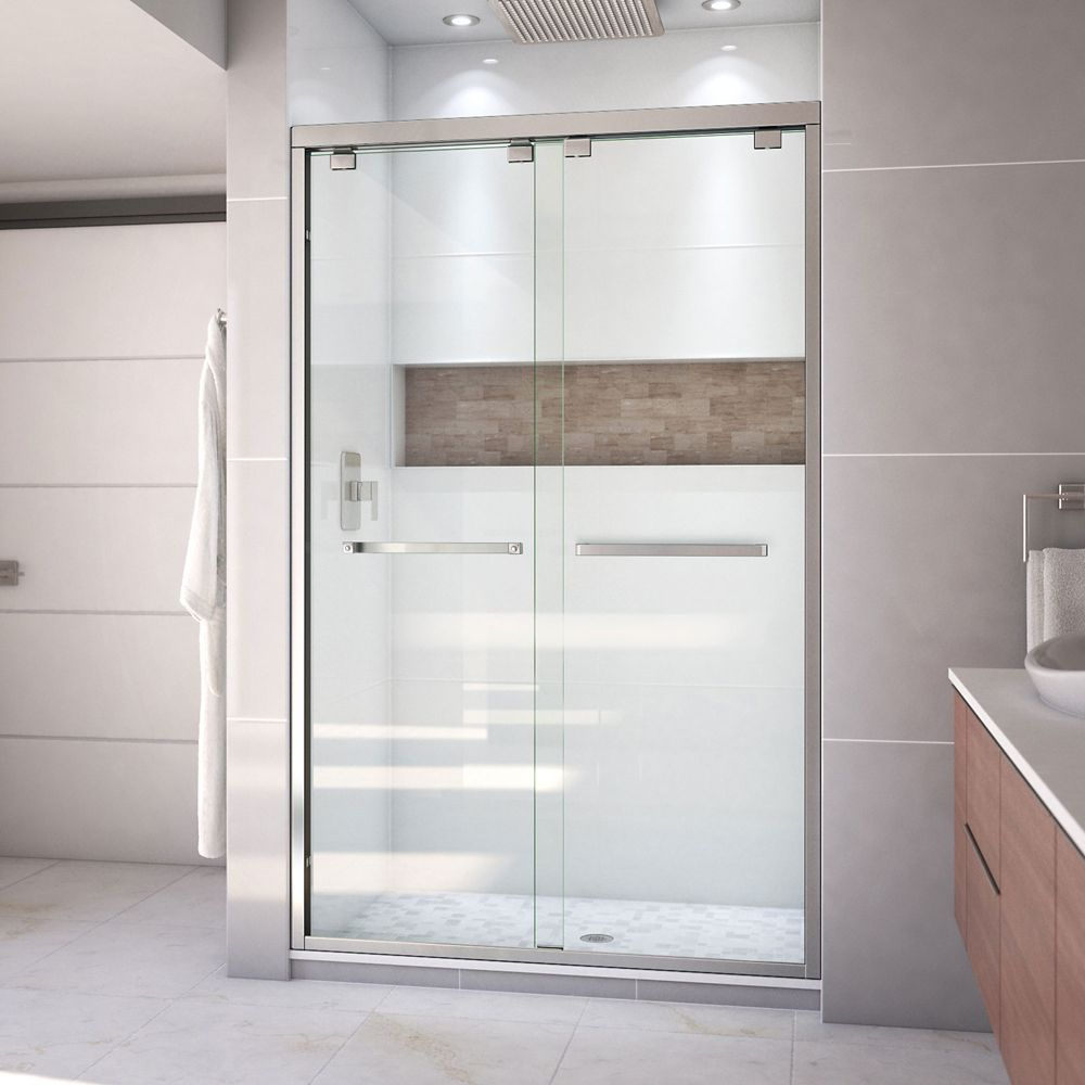 DreamLine Encore 48-inch x 76-inch Frameless Rectangular Sliding Shower Door in Glass with Brushed Nickel