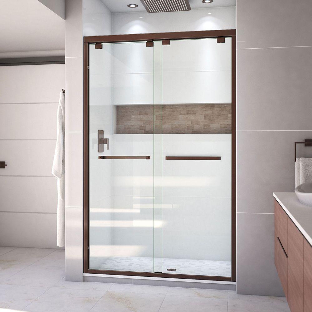 DreamLine Encore 48-inch x 76-inch Frameless Rectangular Sliding Shower Door in Glass with Bronze Hardware