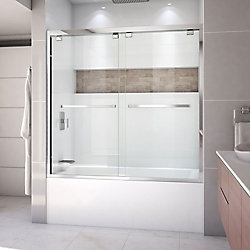 DreamLine Encore 56-inch to 60-inch x 58-inch Framed Bypass Tub Door in Chrome