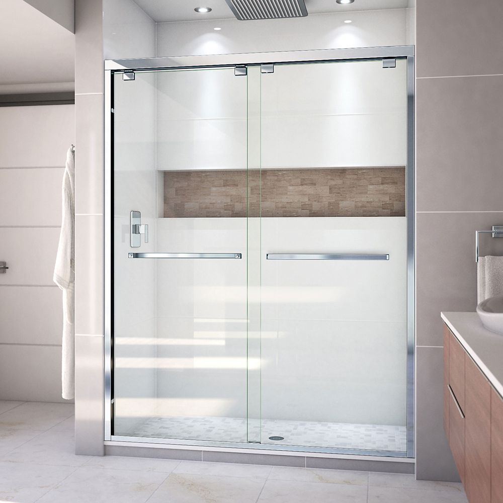 DreamLine Encore 60-inch x 76-inch Frameless Rectangular Sliding Shower Door in Glass with Chrome Hardware