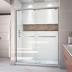 Encore 60-inch x 76-inch Frameless Rectangular Sliding Shower Door in Glass with Brushed Nickel