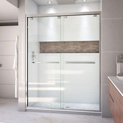 DreamLine Encore 60-inch x 76-inch Frameless Rectangular Sliding Shower Door in Glass with Brushed Nickel
