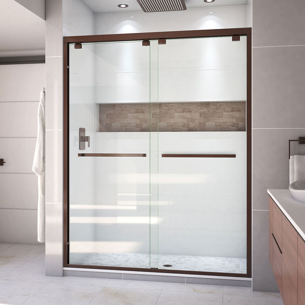 DreamLine Encore 60-inch x 76-inch Frameless Rectangular Sliding Shower Door in Glass with Bronze Hardware