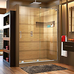 DreamLine Mirage-X 48-inch x 72-inch Frameless Rectangular Sliding Clear Shower Door with Chrome Hardware