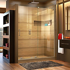 Mirage-X 48-inch x 72-inch Frameless Rectangular Sliding Shower Door in Glass with Brushed Nickel