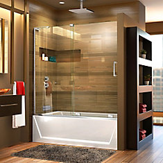 Mirage-X 56-inch to 60-inch x 58-inch Semi-Frameless Sliding Tub Door in Chrome