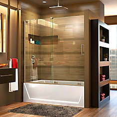 Mirage-X 56-inch to 60-inch x 58-inch Semi-Frameless Sliding Tub Door in Brushed Nickel