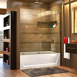 DreamLine Mirage-X 56-inch to 60-inch x 58-inch Semi-Frameless Sliding Tub Door in Brushed Nickel