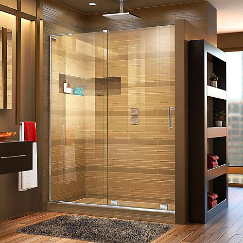Mirage-X 60-inch x 72-inch Frameless Rectangular Sliding Clear Shower Door with Chrome Hardware
