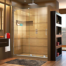 Mirage-X 60-inch x 72-inch Frameless Rectangular Sliding Clear Shower Door with Chrome Hardware