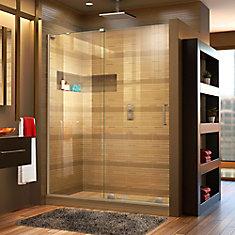 Mirage-X 60-inch x 72-inch Frameless Rectangular Sliding Shower Door in Glass with Brushed Nickel