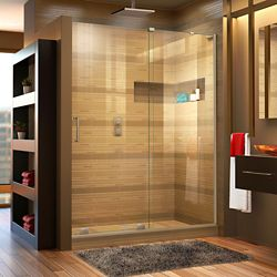 DreamLine Mirage-X 60-inch x 72-inch Frameless Rectangular Sliding Shower Door in Glass with Brushed Nickel