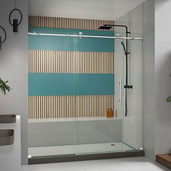DreamLine Enigma-X 72-inch x 76-inch Frameless Rectangular Sliding Shower Door in Glass with Stainless Steel